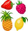 Set von Früchten und Beeren