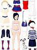 Papier-Puppe mit Kleidung