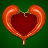 Zwei Paprikas in Form von Herzen