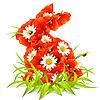 Весенние цветы в форме пасхального кролика | Векторный клипарт