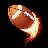fliegender flammender Ball für American Football