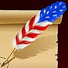 Feder-Stift in den Farben der amerikanischen Flagge