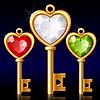 Drei goldene Schlüssel mit Jewel Herzen