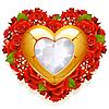 Rosen und Schmuck in Form von Herzen
