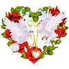 Kranz von Rosen in Form von Herzen und Paar Tauben