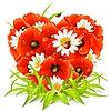 Frühlings-Blumen in der Form des Herzens