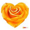 Оранжевая роза в форме сердца | Векторный клипарт