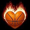 Basketball in Form von Herzen im Feuer