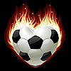 Fußball in der Form von Herzen im Feuer