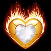 Schmuck in Form von Herzen im Feuer