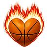 Basketball auf Feuer in Form von Herzen