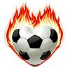 Fußball in Brand in der Form von Herzen
