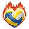 Volleyball im Feuer in der Form von Herzen