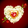 Rote Rosen und goldenes Schmuckstück in Form von Herzen