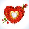 Красные розы и золотой драгоценный камень в форме сердца | Векторный клипарт