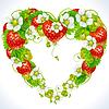 Rahmen aus Erdbeeren in der Form des Herzens