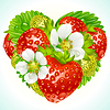 Ягоды клубники в форме сердца | Векторный клипарт