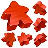 红色木meeples的 | 向量插图