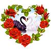 Rote Rosen und Schwäne Paar