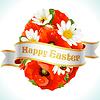 Osterei aus Blüten von Kamillen und Mohn