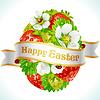 Osterei aus Erdbeeren und Blumen