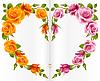 Orange und rosa Rose Rahmen in der Form von Herzen