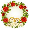 Flower frame. weißen und roten Rose