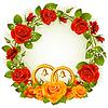 Flower frame. orange und rote Rose