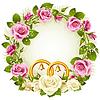 Flower frame. weiß und rosa Rose