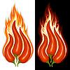 Paprikas in der Form des Feuerzeichens