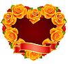 orange Rose-Rahmen in der Form von Herzen