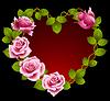Framework von rosa Rosen in Form von Herzen