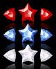 Schmuck Ikonen der Sterne und Pfeile: rot, blau, weiß