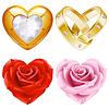 Form des Herzens, Set. Goldschmuck und Rosen