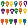 Маркеры для карт с символами - путешествия / развлечения | Векторный клипарт