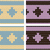 Seamless knitted patterns with ornament | Stock Vector Graphics