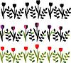 装饰花卉边框,黑色和彩色 | 向量插图