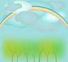 Rainbow, clouds and trees landscape | Stock Vector Graphics