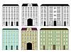 Stadt Gebäuden gefärbt und Silhouetten