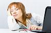 Pracownik, śpi na laptopie | Stock Foto