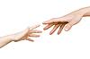 Dziecko `s ręka sięga mężczyzna` s rękę | Stock Foto
