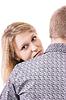 Młoda blondynka za ramię młodego człowieka | Stock Foto