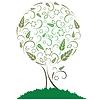 Drzewo z liści, kwiatów i uszy | Stock Vector Graphics