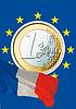 ID 3228116 | Euro monety i francuski Tricolore | Foto stockowe wysokiej rozdzielczości | KLIPARTO