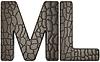 ID 3236177 | Alligator Haut font M und L Großbuchstaben | Illustration mit hoher Auflösung | CLIPARTO