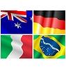 Set von wehenden Faggen verschiedener Länder