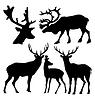 集鹿剪影 | 向量插图