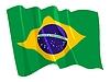 Развевающийся флаг Бразилии | Векторный клипарт