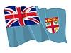 挥舞着国旗的斐济 | 向量插图
