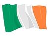 爱尔兰共和国飘扬的旗帜 | 向量插图